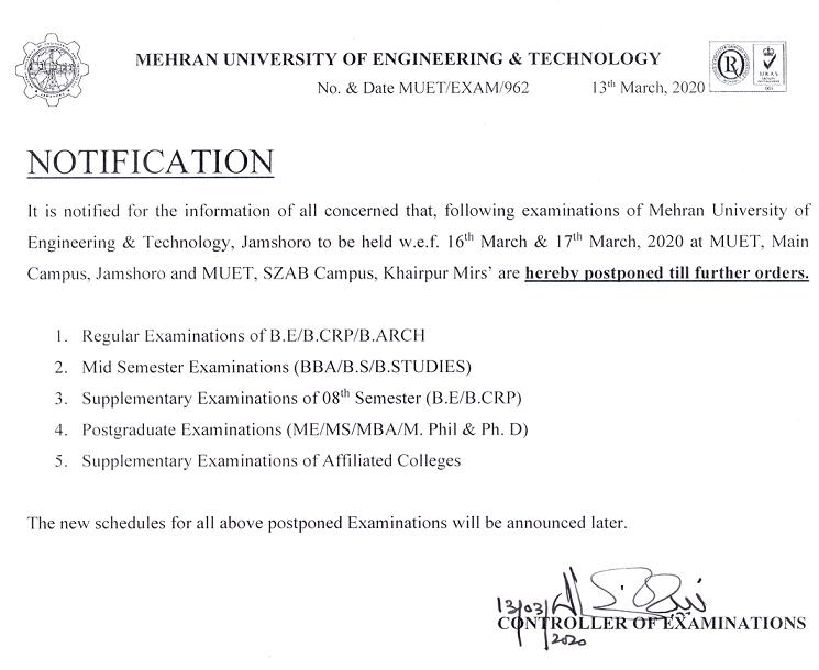 Notifications Regarding Examinations, 2020